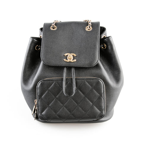 Chanel Black Caviar Leather Quilted 'Business Affinity' Leather Backpack