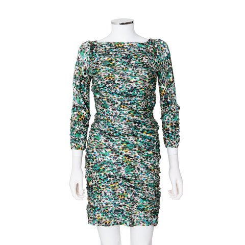 Diane von Furstenberg 'Keena' Multi-Coloured Printed Ruched Dress