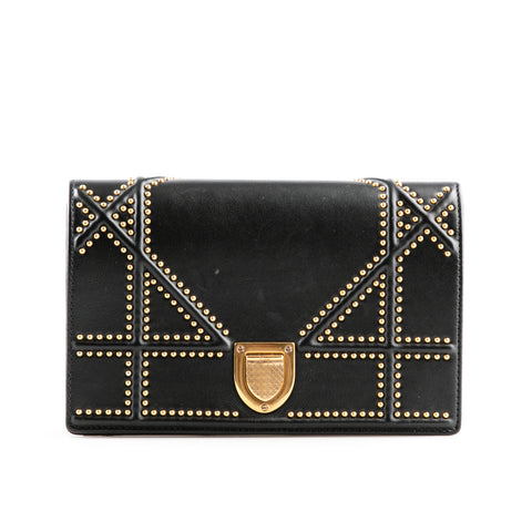 Christian Dior 'Diorama' Leather Gold Studded Bag