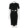 Alexander McQueen Black Cropped Top with Matching Pencil Skirt Set