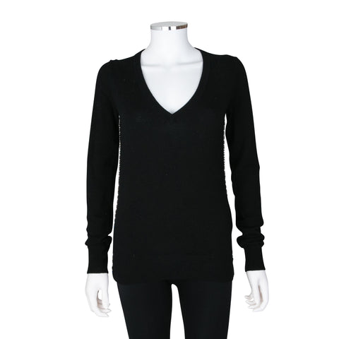 Dolce & Gabbana Long Sleeve V-Neck Cashmere Sweater with Crystal Detailing on Side