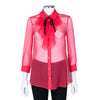 Gucci Red Sheer Blouse with Ruffle and Bow