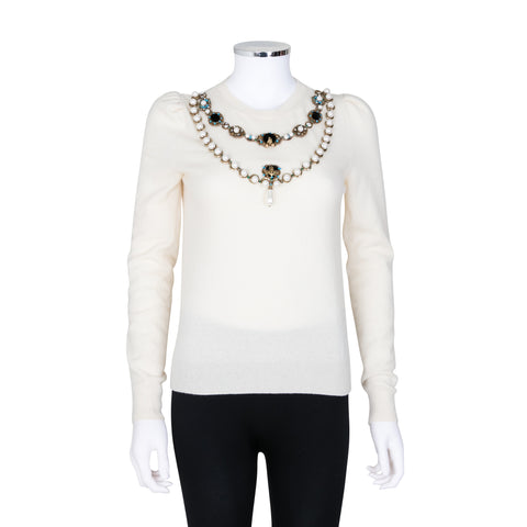Gucci Knit Sweater with Faux Pearl and Jewelled Embellishment