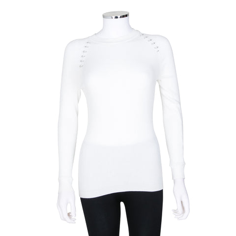 Mugler Long Sleeve Rib Knit Sweater with Ring Detail