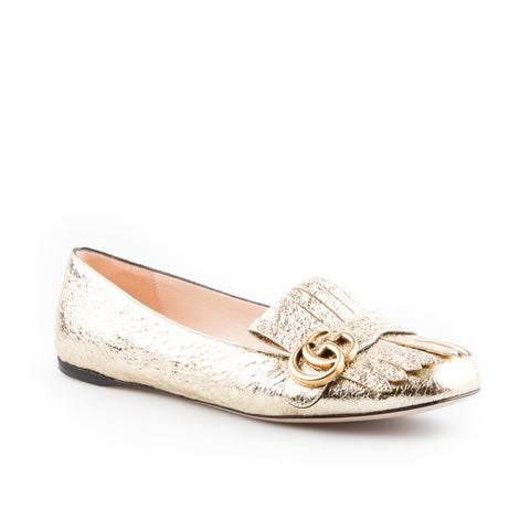 Gucci Gold Metallic Leather GG Marmont Ballet Flats
