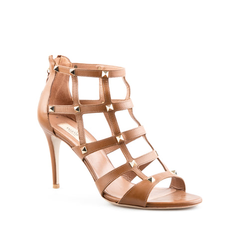 Valentino Brown Leather 'Rockstud' Mid-Heel Caged Sandal