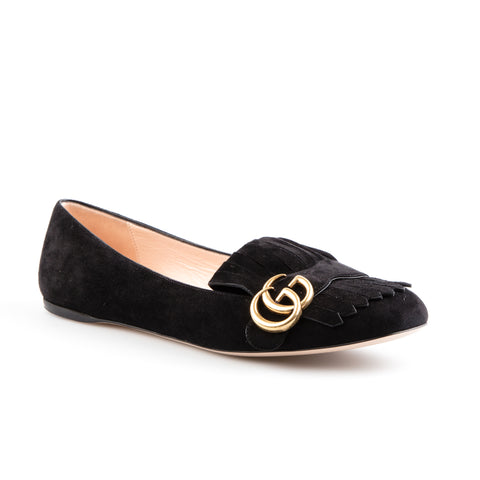 Gucci Black Suede GG Marmont Ballet Flats
