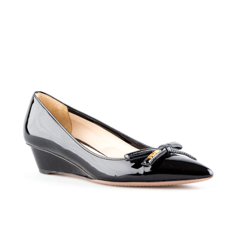 Prada Sport Patent Leather Wedge with Bow Detail