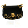 Chloe 'Drew' Black Leather Bag with Gold Stud Embellishment