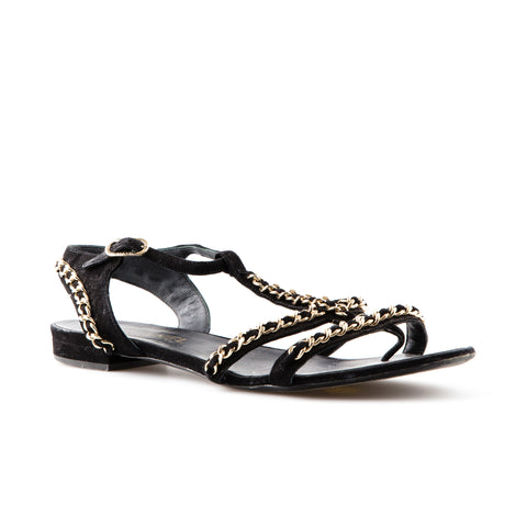 Chanel Suede with Silver Chain Sandals