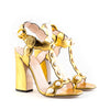 Gucci Gold Metallic Leather T-Strap Sandals with Pearls