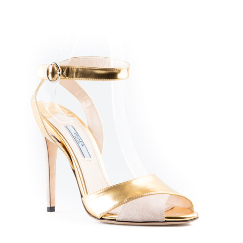 Prada Metallic Leather and Suede Ankle Strap Sandals