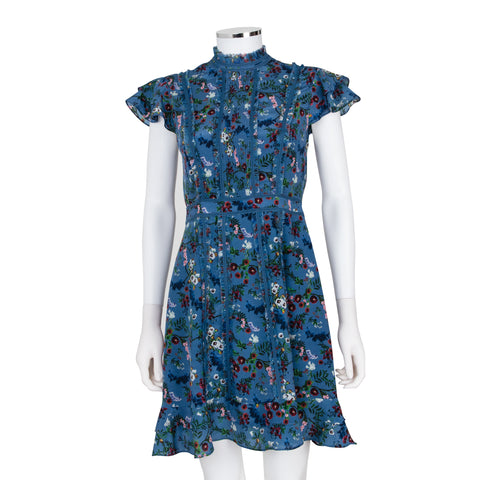 Alice + Olivia 'Marta' High Neck Floral Dress