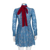 MSGM Long Sleeve High Neck Lace Dress with Velvet Bow
