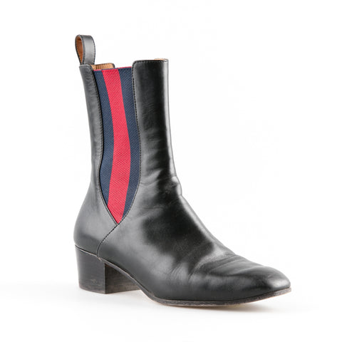 Gucci Leather Ankle Boot with Elasticated Band Detail