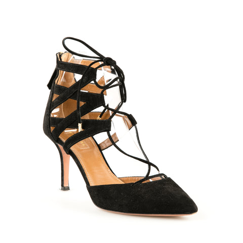 Aquazzura 'Belgravia' Black Suede Strappy Pumps