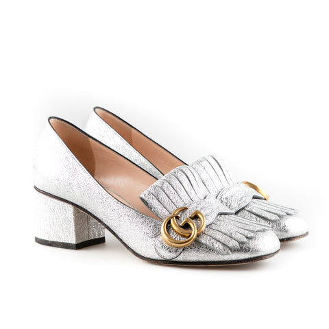 8131a401656 Gucci  Marmont  Fringed Metallic Cracked Leather Loafers – SuiteAdore