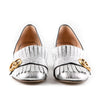Gucci 'Marmont' Fringed Metallic Cracked Leather Loafers