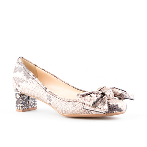 Prada Sport Snakeskin Round Toe with Bows Pumps