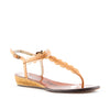 Lanvin Brown Leather Scalloped T-Strap Wedge Slingback Sandals