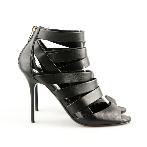 f99062b990a2 Jimmy Choo 'Dame' Black Leather Strappy Sandals – SuiteAdore