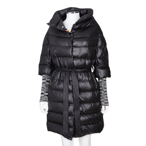 M Missoni Solid Puffer Coat with Knit Sleeves