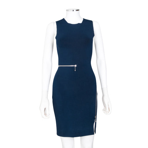 Alexander Wang Navy Blue Fitted Tank Zip Dress