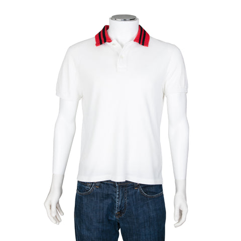 Gucci Short Sleeve Polo Top with Knit Collar