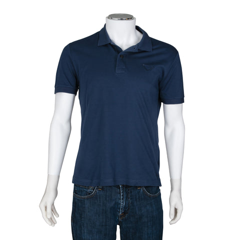 Prada Blue Short Sleeve Polo Top