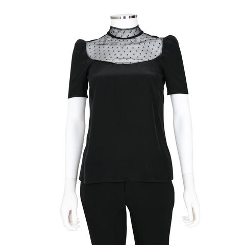 Red Valentino Black Short Sleeve Top with Lace Detail