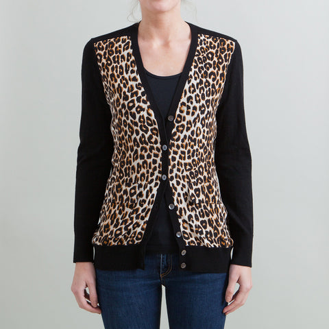 Equipment 'Taylor' Leopard Panel Cardigan