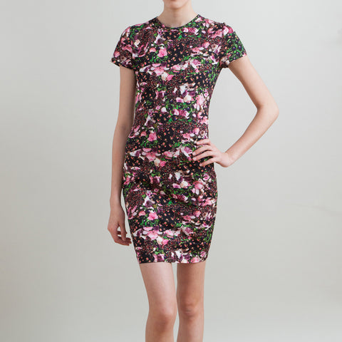 Givenchy Black Floral Fitted Jersey Dress