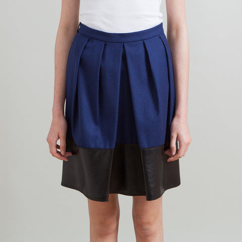 Fendi Blue Wool Skirt with Leather Trim