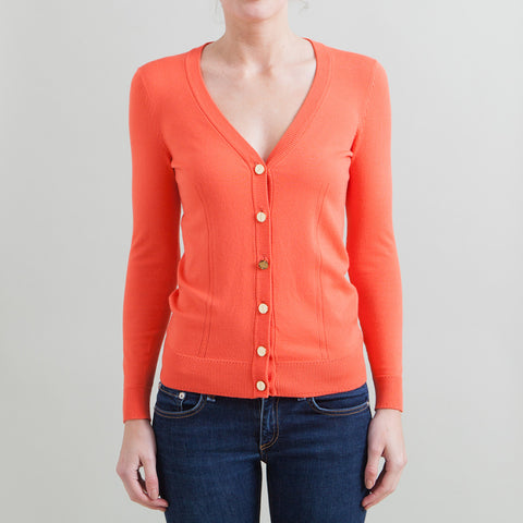 Milly Coral Cardigan with Gold Nail Head Buttons