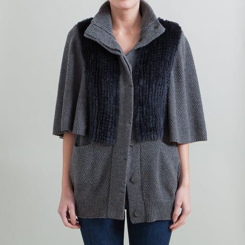 3.1 Phillip Lim Fur-Trimmed Cape Sleeve Sweater