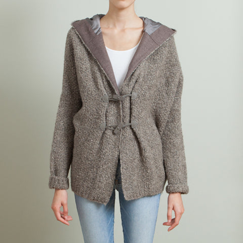 Fabiana Filippi Brown Wool Jacket with Hood