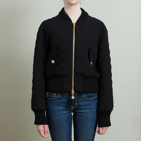 Moschino Black Quilted Bomber Jacket