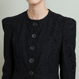 Burberry Fitted Black Lace Collarless Jacket