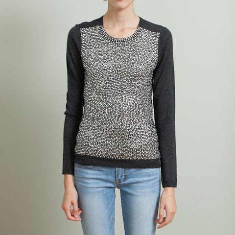 Strenesse Dark Gray Sweater with Crystal Front
