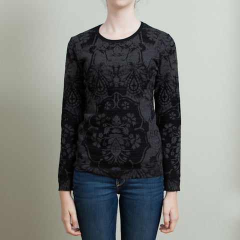 Roberto Cavalli Black and Grey Knit Long Sleeve Top