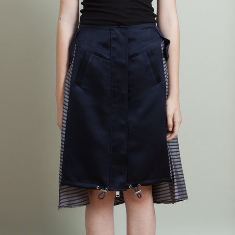 Sacai Navy Silk Striped Skirt