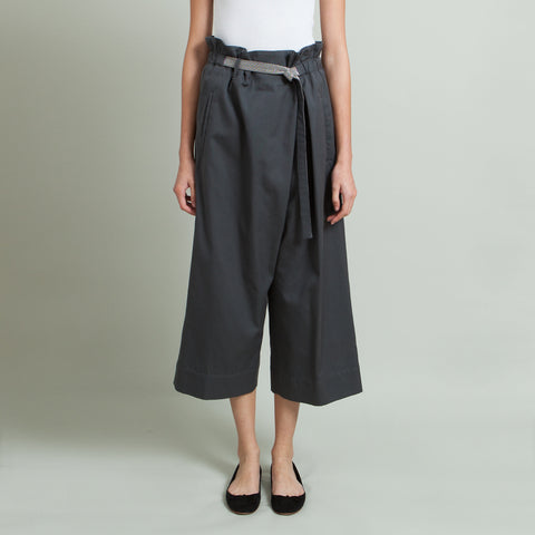 Brunello Cucinelli Wide Leg Pant with Embellished Belt