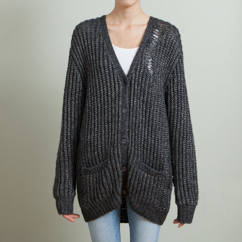 Saint Laurent NEW Women's Gray Distressed Open-Knit Cardigan