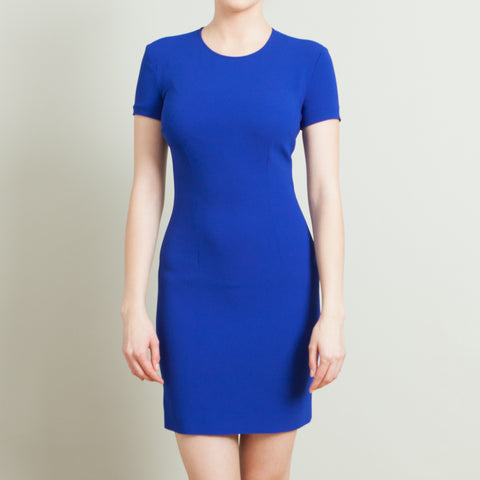 Stella McCartney Blue Fitted Dress with Back Ruffle
