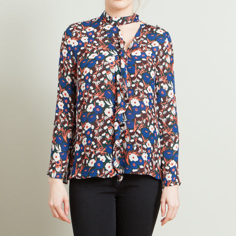 Derek Lam 10 Crosby Floral Print Silk Blouse with Ruffle