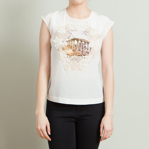 Dolce & Gabbana Sheer Cream Silk Blouse with Applique