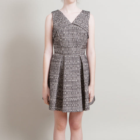 Robert Rodriguez Black and White Woven Dress with Low Back