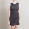 Jay Ahr Grey Ruched Dress with Leather Lace-up Back