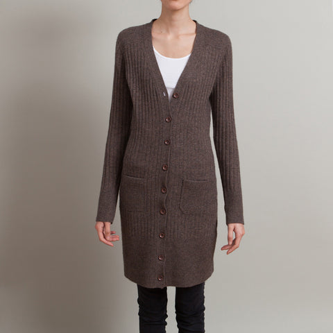 Chloe Heather Brown Long Ribbed Cashmere Cardigan