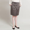 Burberry Grey Button-Up Pencil Skirt